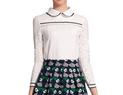 Jollychic Peter Pan Collar Long Sleeve Top Skater Skirt 2 Pcs Jollychic.com bester Fashion-Online-Shop