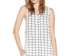 Jollychic Plaid Pattern V-Neck Sleeveless Loose Blouse Jollychic.com bester Fashion-Online-Shop