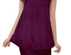 Jollychic Purple 2Pcs Sleepwear O-Neck Top Leisure Shorts Jollychic.com bester Fashion-Online-Shop