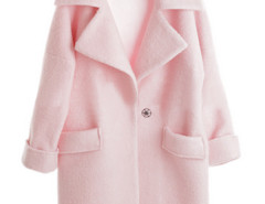 Jollychic Solid Pink Long Sleeves Notched Lapel Cocoon Jacket Jollychic.com bester Fashion-Online-Shop