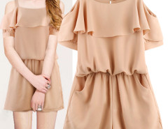 Jollychic Solid Slip Ruffled Hem Women Casual Jumpsuit Jollychic.com bester Fashion-Online-Shop