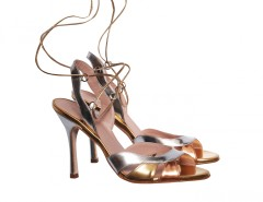 Josephine Laced Cut Out Metallic Leather Heeled Sandals Carnet de Mode bester Fashion-Online-Shop