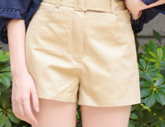 Khaki Belted High Waist Shorts Choies.com bester Fashion-Online-Shop Großbritannien Europa