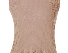 Khaki Hollow Chochet Slim Vest Top Choies.com bester Fashion-Online-Shop Großbritannien Europa