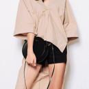 Khaki V Neck Hi Lo Loose Half Sleeve Blouse Choies.com bester Fashion-Online-Shop Großbritannien Europa