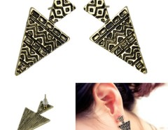 Korea Fashion Cool Punk Bronze Geometric Women's Girls Party Ear Studs Earrings Cndirect bester Fashion-Online-Shop China
