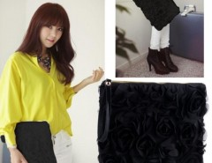 Korea Stylish Casual Women's Lace Rose Pattern Clutch Handbag Cndirect bester Fashion-Online-Shop China