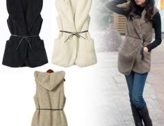 Korea Women's Girls Fashion Elegant Warmer Casual Bushy Hoodie Long Vest Coat Hot 5 Colors Cndirect bester Fashion-Online-Shop China
