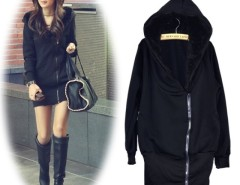 Korea Women's Girls Fashion Zip Hoodie Warm Long Hooded Sweatshirt Jacket Coat Outwear Black Cndirect bester Fashion-Online-Shop China