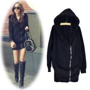 Korea Women's Girls Fashion Zip Hoodie Warm Long Hooded Sweatshirt Jacket Coat Outwear Black Cndirect bester Fashion-Online-Shop China