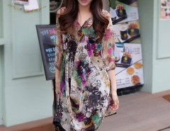 Korea Women's Summer Loose V-Neck Printing Half Sleeves Chiffon Blouse Tops Cndirect bester Fashion-Online-Shop China