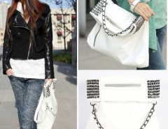 Korean Style Lady Women Synthetic Leather Handbag Shoulder Bag Purse White Cndirect bester Fashion-Online-Shop China