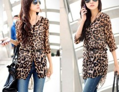 Korean Women's Leopard Half Sleeve Long Shirt Blouse Cndirect bester Fashion-Online-Shop China