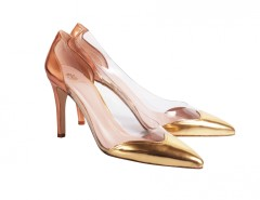 Laminated and Suede Leather and PVC Pointed Heels Carnet de Mode bester Fashion-Online-Shop