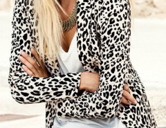 Leopard Print Collarless Long Sleeve Blazer Choies.com bester Fashion-Online-Shop Großbritannien Europa