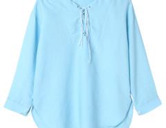 Light Blue Lace Up Front 3/4 Sleeve Dipped Back Blouse Choies.com bester Fashion-Online-Shop Großbritannien Europa