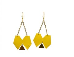 Long geometric leather earrings - Clélia Carnet de Mode bester Fashion-Online-Shop