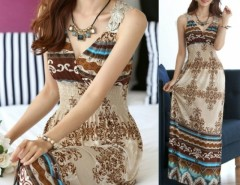 Maxi Lace Back Sexy Women Summer Bohemia V-Neck Long Beach Dresses Cndirect bester Fashion-Online-Shop China