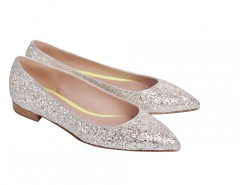 Melissa Silver Glitter Leather Pointed Ballet Flats Carnet de Mode bester Fashion-Online-Shop