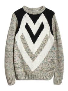 Men's Gray Variegated Geo Pattern Long Sleeve Sweater Choies.com bester Fashion-Online-Shop Großbritannien Europa