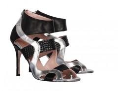 Mina Metallic Cut Out Leather Heeled Open Sandals Carnet de Mode bester Fashion-Online-Shop