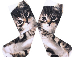 Monochrome 3D Kitty Print Ankle Socks Choies.com bester Fashion-Online-Shop Großbritannien Europa