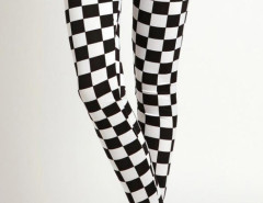 Monochrome Checker High Waist Ankle Leggings Choies.com bester Fashion-Online-Shop Großbritannien Europa