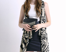 Monochrome Geometric Sleeveless Waterfall Knitted Cardigan Choies.com bester Fashion-Online-Shop Großbritannien Europa