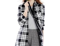 Monochrome Plaid Print Belt Waist Longline Shirt Choies.com bester Fashion-Online-Shop Großbritannien Europa