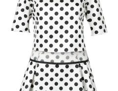 Monochrome Polka Dot Print Half Sleeve Top And Mini Skirt Choies.com bester Fashion-Online-Shop Großbritannien Europa
