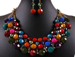 Multicolor Beaded Chain Statement Nacklace And Earrings Pack Choies.com bester Fashion-Online-Shop Großbritannien Europa