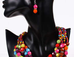 Multicolor Beaded Chunky Statement Collar Nacklace And Earrings Pack Choies.com bester Fashion-Online-Shop Großbritannien Europa