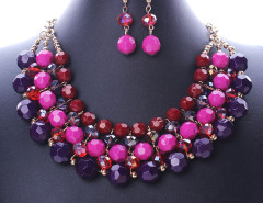 Multicolor Beaded Statement Collar Nacklace And Earrings Pack Choies.com bester Fashion-Online-Shop Großbritannien Europa