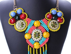 Multicolor Beaded Tassel Boho Statement Collar Necklace Choies.com bester Fashion-Online-Shop Großbritannien Europa
