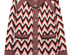 Multicolor Chevron Print Button Up Pocket Detail Cardigan Choies.com bester Fashion-Online-Shop Großbritannien Europa