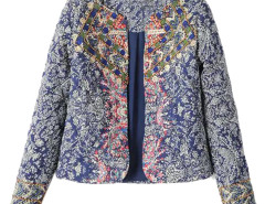 Multicolor Folk Pattern Beaded Long Sleeve Coat Choies.com bester Fashion-Online-Shop Großbritannien Europa