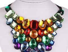Multicolor Gemstone Tie Choker Necklace Choies.com bester Fashion-Online-Shop Großbritannien Europa