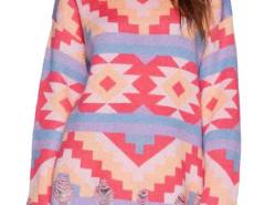 Multicolor Geo Pattern Ripped Long Sleeve Knit Sweater Choies.com bester Fashion-Online-Shop Großbritannien Europa