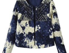 Multicolor Ink Painting Sequin Open Front Quilted Jacket Choies.com bester Fashion-Online-Shop Großbritannien Europa