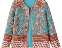 Multicolor Paisley Pattern Long Sleeve Short Coat Choies.com bester Fashion-Online-Shop Großbritannien Europa