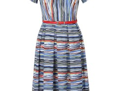 Multicolor Stripe Painting Belt Pleat Midi Dress Choies.com bester Fashion-Online-Shop Großbritannien Europa