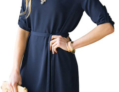 Navy Belt Waist Roll Up Sleeve Plain Dress Choies.com bester Fashion-Online-Shop Großbritannien Europa