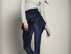 Navy Blue Velvet Pants - Suele Azul Carnet de Mode bester Fashion-Online-Shop