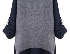 Navy Cape Back Roll Up Sleeve Blouse Choies.com bester Fashion-Online-Shop Großbritannien Europa