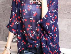 Navy Cherry Print Batwing Sleeve Chiffon Blouse Choies.com bester Fashion-Online-Shop Großbritannien Europa