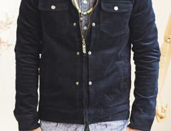 Navy Floral Lining Corduroy Jacket Choies.com bester Fashion-Online-Shop Großbritannien Europa