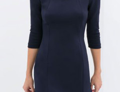 Navy Gemstone Detail 3/4 Sleeve Flounce Hem Dress Choies.com bester Fashion-Online-Shop Großbritannien Europa