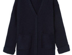 Navy Pocket Detail Long Sleeve Longline Knit Cardigan Choies.com bester Fashion-Online-Shop Großbritannien Europa