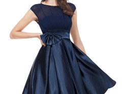 Navy Sheer Top Bowtie Waist Keyhole Back Prom Dress Choies.com bester Fashion-Online-Shop Großbritannien Europa