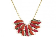 Necklace - 2 leaf rows - coral & pink Carnet de Mode bester Fashion-Online-Shop